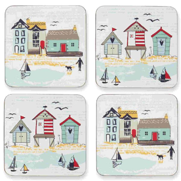 Seaside Beach Huts & Boats Drinks Mats Coasters (4 Pack)